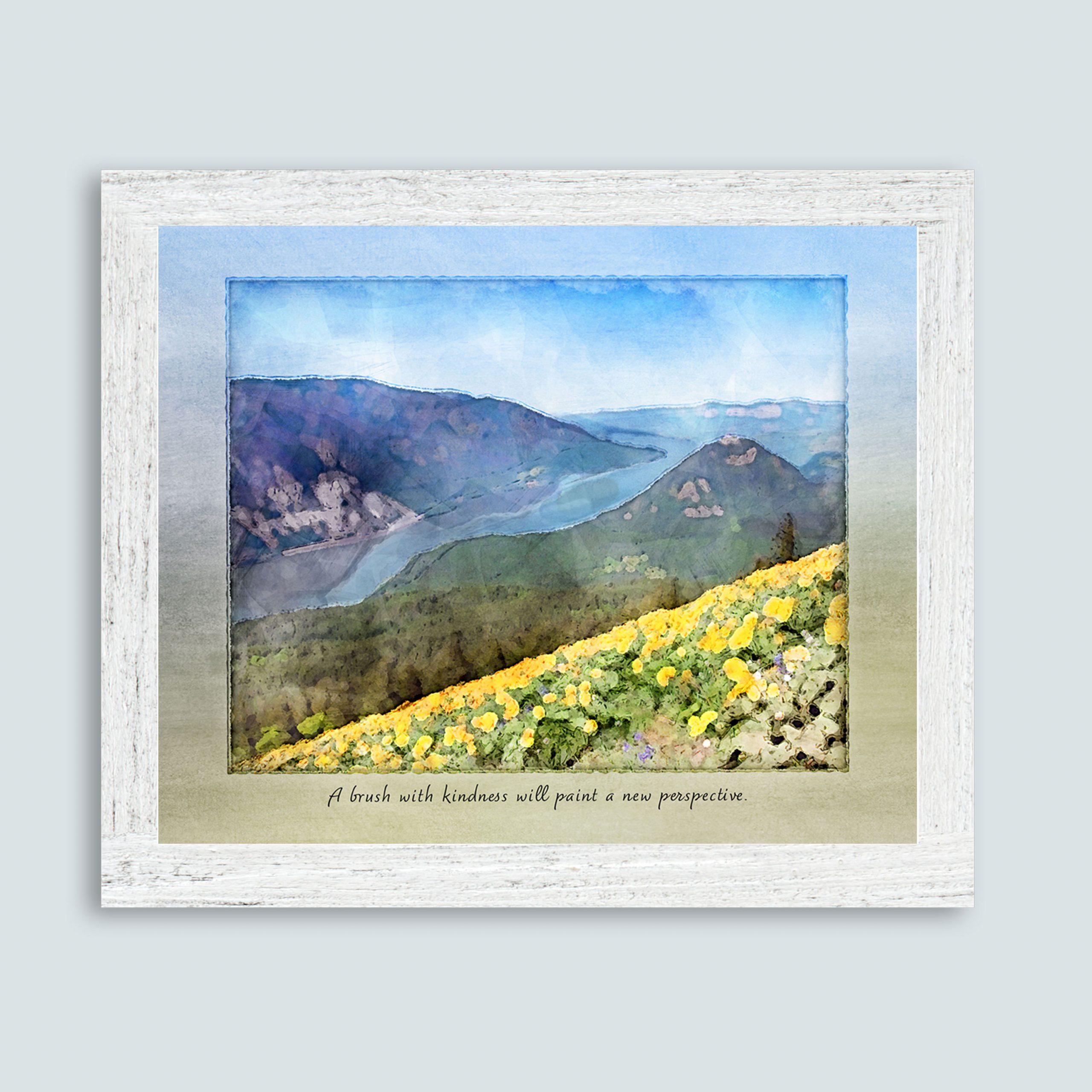 Dog Mountain gratitude print in white frame