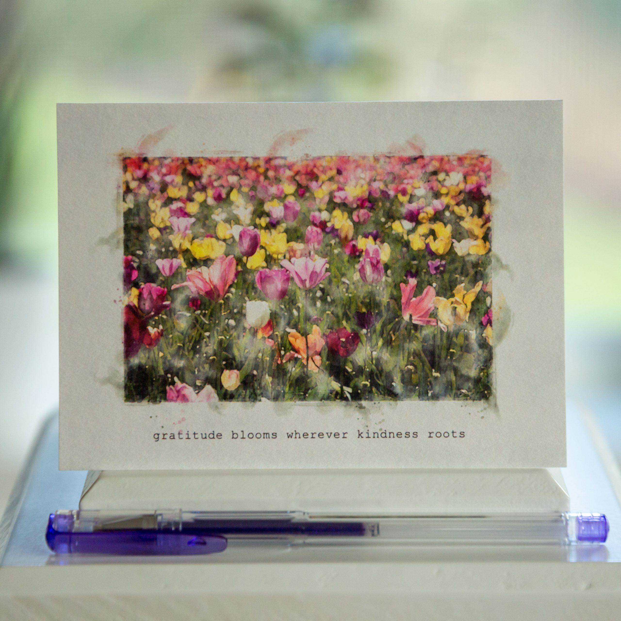 Gratitude card with field of tulips