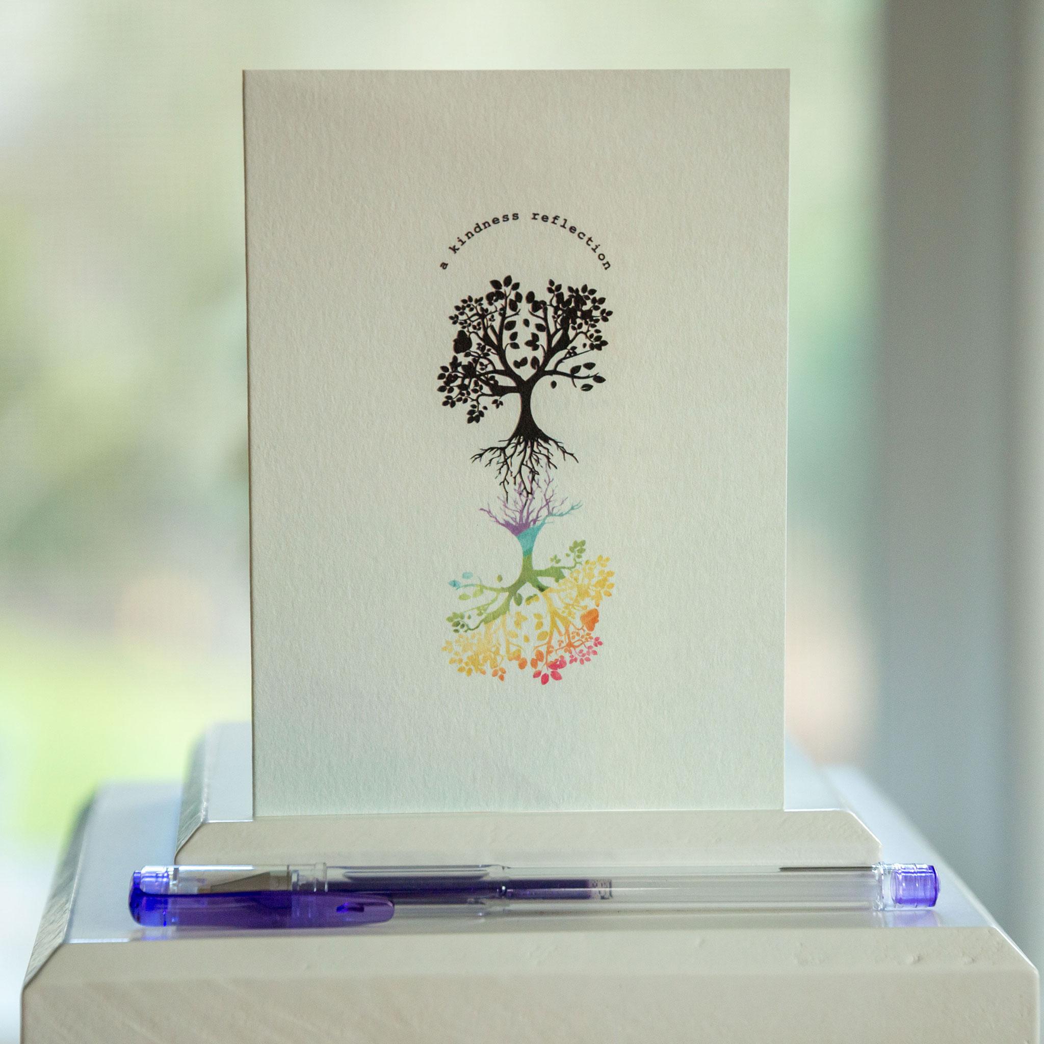 Tree with rainbow reflection on gratitude card