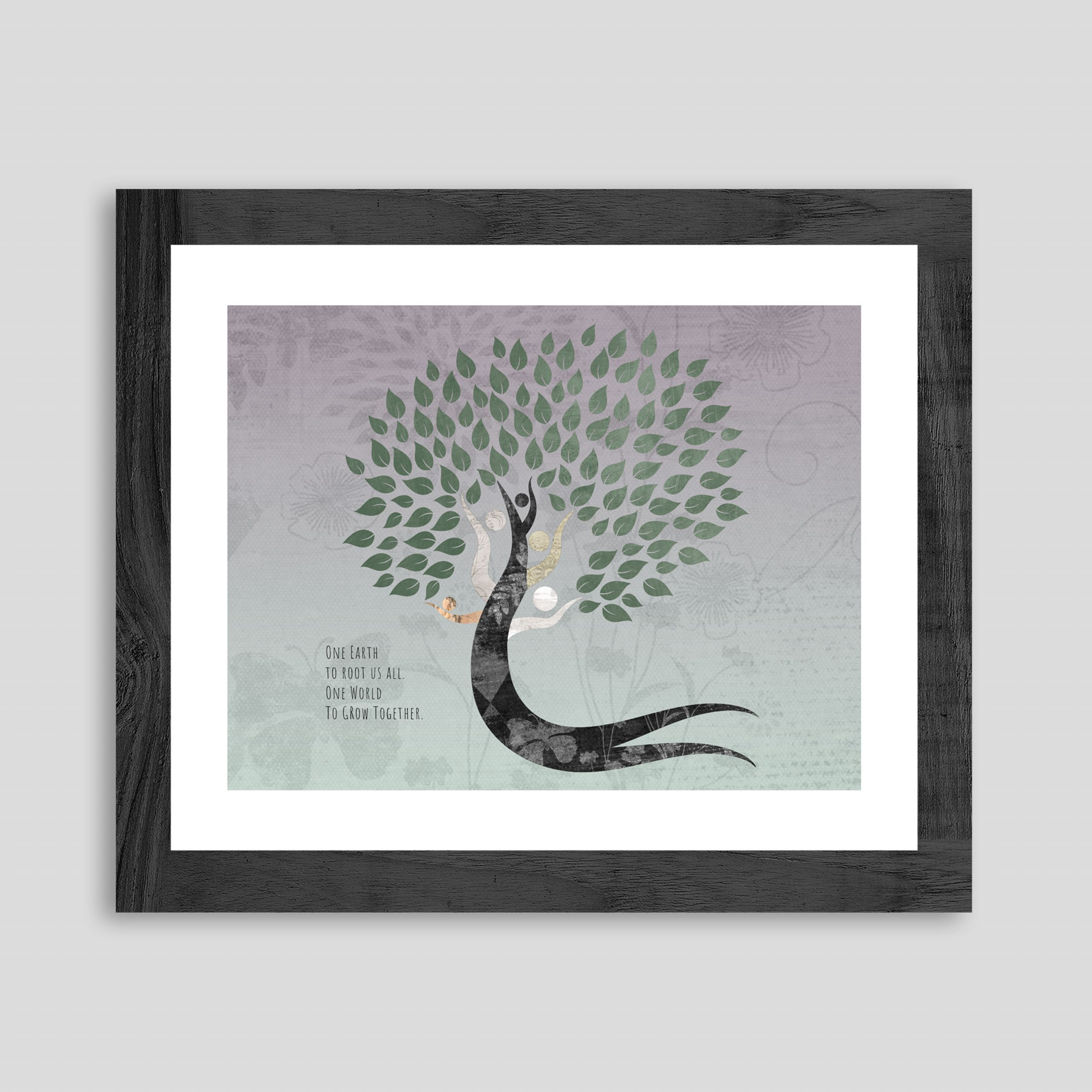 """A textured paper tree with multi-colored branches appears to dance in the wind and throw its leaves with the the quote, """"One Earth to root us all. One world to grow together."""""""
