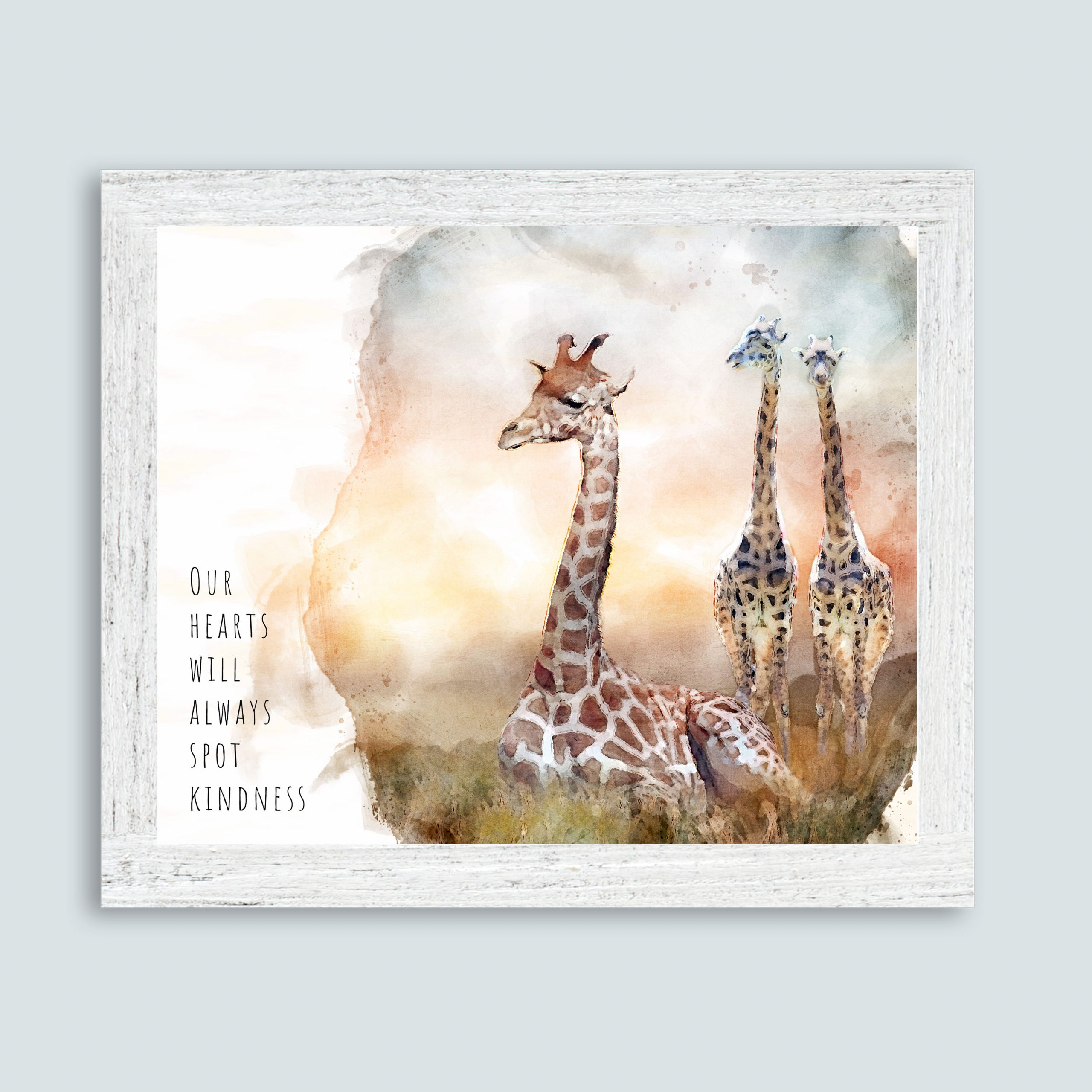 """A watercolor of a mother giraffe sitting peacefully in grass as two young giraffes approach. The text reads """"Our hearts will always spot kindness."""""""