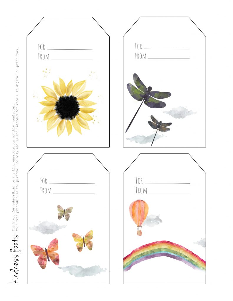 Watercolor art gift tags from Kindness Roots including a sunflower, dragonfly, butterfly, and rainbow.