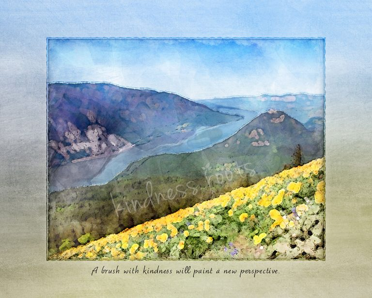 """Watercolor painting of the view from Dog Mountain with yellow wildflowers spilling over the hillside above the Columbia River with quote, """"a brush with kindness will paint a new perspective"""""""