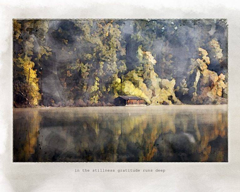 """Watercolor of early morning as fog lifts on a glassy Willamette River. A rustic shed sits across the water and a quote reads """"in the stillness gratitude runs deep"""""""
