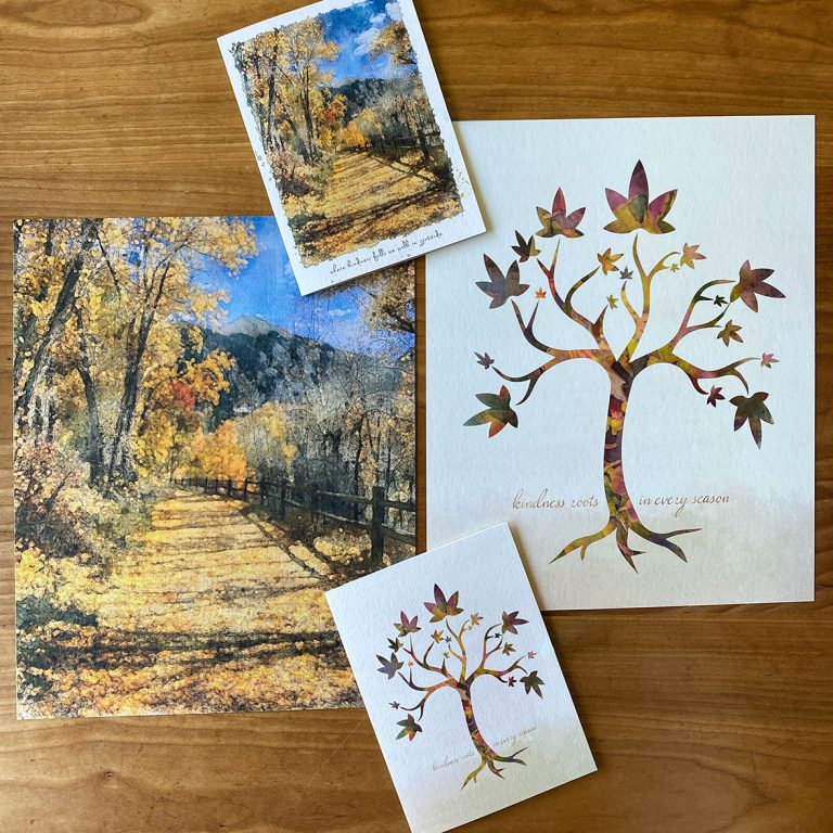 Reversible 8x10 print of Aspen-filled path in Telluride, Colorado and maple tree mosaic